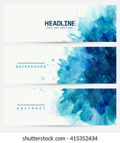 Blue watercolor blot. Beautiful creative design.