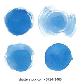 Blue watercolor blotch. Set of blue watercolor circles. Set of artistic circles background