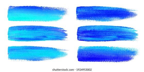 Blue watercolor brush strokes. Canvas texture. Paint brush. Acrylic smear set. Vector illustration