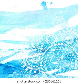Blue watercolor brush strokes with white hand drawn mandalas - round doodle Indian elements. Vector summer design.