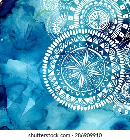 Blue watercolor brush wash with white hand drawn pattern - round doodle tribal elements. Vector ethnic design in boho style.