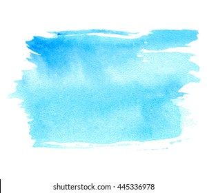 Blue watercolor colorful hand drawn paper grain texture isolated vector stain on white background for card, tag, design. Abstract water color artistic brush paint splash element for text, banner, web