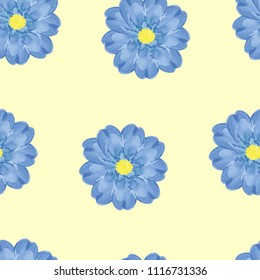 Blue watercolor floral seamless vector pattern, on pastel background, eps 10. Floral texture for cover, banner.