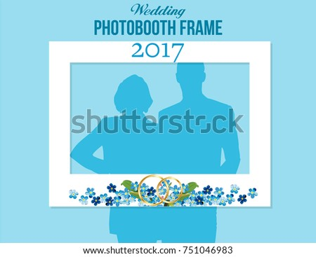 Blue Watercolor Flowers Photobooth Wedding Frame For Groom And Bride White Vector Template With Golden