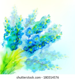 blue watercolor flowers. Vector