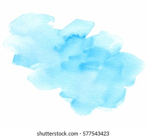 Blue watercolor hand drawn isolated vector wash spot on white background for text design, web. Abstract cold color brush paint paper grain texture illustration element for wallpaper, label