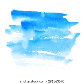 Blue watercolor hand drawn paper texture isolated striped strokes spot on white background. Wet brush painted smudges abstract vector illustration. Design water element for banner, print, web, cover