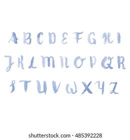 blue watercolor letters