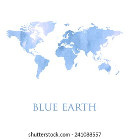 Blue watercolor map of the world. Illustration made in vector.