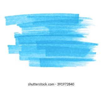 Blue watercolor marker hand drawn paper texture strokes isolated vector stain on white background. Abstract water paint striped artistic element for design, decoration, banner, template, web, print