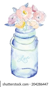 Blue Watercolor Mason Jar With Painted Flower Bouquet
