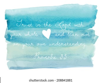 Blue Watercolor Ombre Background With Bible Verse Text Proverbs 3:5 Quote