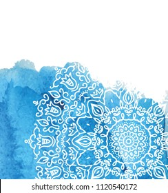 Blue watercolor paint background with white hand drawn round doodles and mandalas. design of backdrop