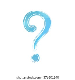 Blue watercolor question mark. White background. Painted design element. Illustration for web or typography (magazine, brochure, flyer, poster).