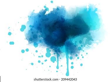 Blue watercolor splash - template for your designs
