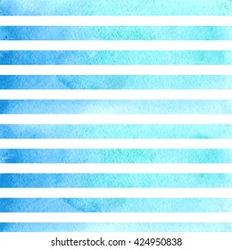 Blue watercolor stripes. Watercolor striped background. blue stripes on white background watercolor painting