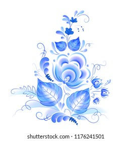 Blue watercolor style floral composition, vector blue painting in Russian gzhel style isolated on white background