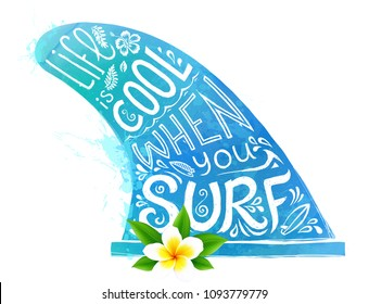 Blue watercolor style vector surfing fin silhouette with white hand drawn lettering and realistic Bali flower isolated on white background