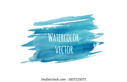 Blue watercolor texture isolated on white. Abstract hand painted brush stroke. Vector illustration