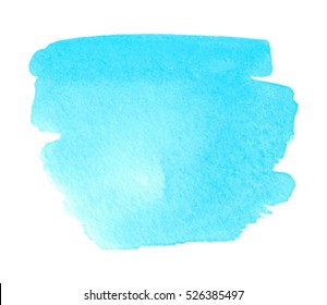 Blue watercolor wet brush paint isolated shape stain on white background for text design, web, print. Abstract aquarelle cold bright color hand drawn paper texture vector element for wallpaper, blank
