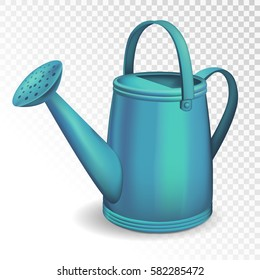 Blue watering can isolated on transparent background. Vector illustration.