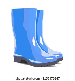 Blue waterproof rubber boots isolated on white background. Gumboots for rainy weather. Vector illustration