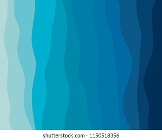 Blue wave abstract backgorund in flat vector design style