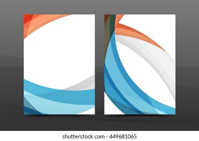 blue wave annual report cover template stock vector royalty free