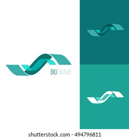 Blue wave. Icon or logo template for medicine, science, laboratory,. Mockup symbol for corporate branding identity. Technology label inspiration for advertising, business, web design. Vector.