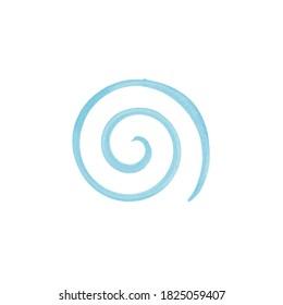 Blue wave logo template. Sea surf emblem symbol. Watercolor brush stroke.Vector illustration. Stock vector illustration isolated on white background.