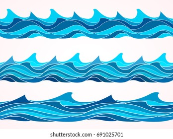 Blue wave patterns, seamless background. Isolated water waves on white, line, curve, marine set, sea shape collection. Hand drawn Vector illustration.