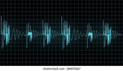 Blue wave of signal  from oscilloscope creen