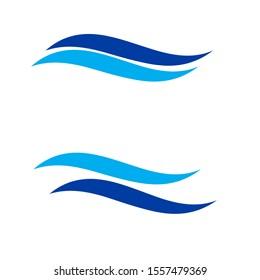 blue wave swoosh icon logo vector illustration