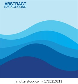 Blue wave vector abstract background flat design stock illustration