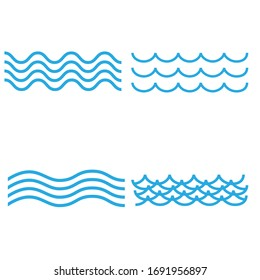 blue wave Vector icons set on white background. Water waves illustration sign collection.