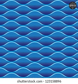 Blue waves pattern, Thai traditional art. Vector