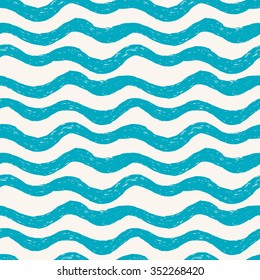 Blue waves. Seamless hand drawn pattern
