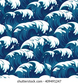 Blue waves in a stormy sea. Seamless pattern for your design
