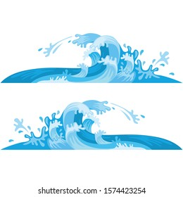 Blue waves vector isolated on white background