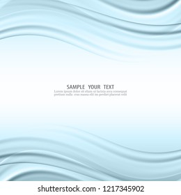 Blue wavy abstract vector background.