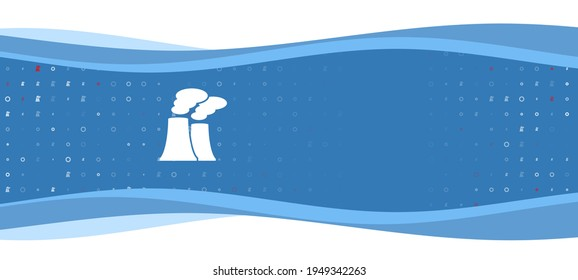 Blue wavy banner with a white industrial pollution symbol on the left. On the background there are small white shapes, some are highlighted in red. There is an empty space for text on the right side