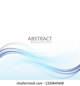 Blue wavy lines of an elegant horizontal wave. Design element