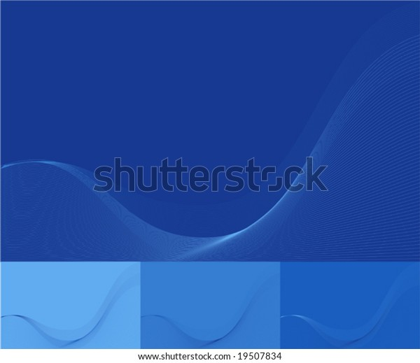 Blue Wavy Organic Wallpaper Color Variations Stock Vector