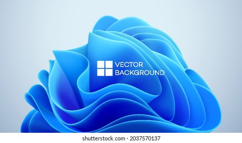 Blue wavy shapes on a black background. 3d trendy modern background. Blue waves abstract shape. Vector illustration EPS10