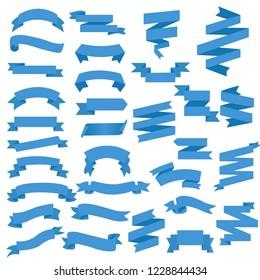 Blue Web Ribbon Big Set, Vector Illustration