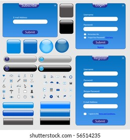 Blue web template with forms, bars, buttons and many icons.