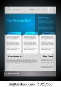 Blue website template for your design. Fully vector, enjoy!
