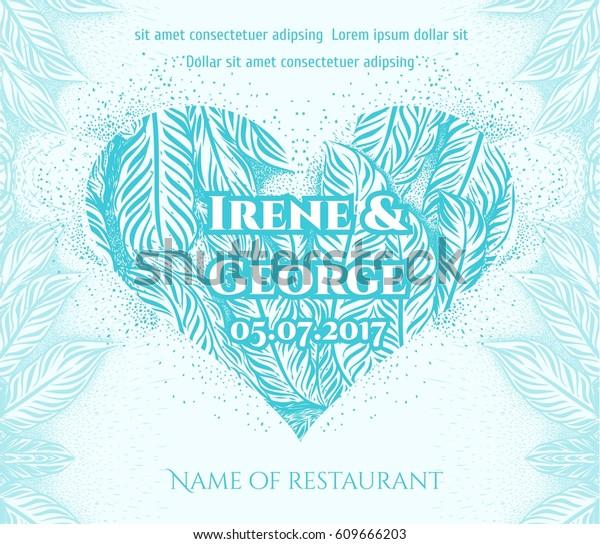 Blue Wedding Invitation Card Background Heart Stock Image