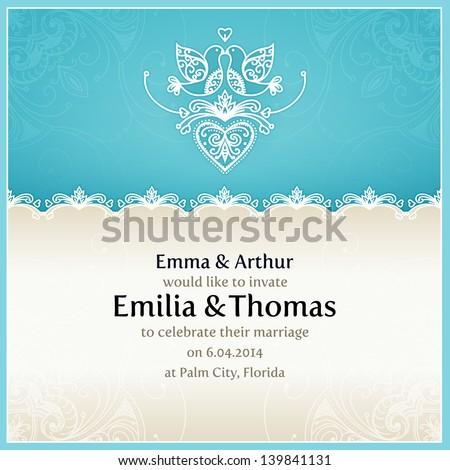 Blue Wedding Invitation Design Template Doves Stock Vector Royalty