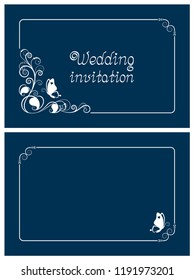 Blue wedding invitation, rsvp invite, thank you and save the date cards with floral design and butterfly. Horizontal card template for foil print